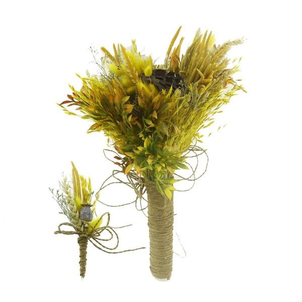 Doğal Kurutulmuş Gerçek Çiçek Gelin El Buketi Ve Yaka Çiçeği Mod.10