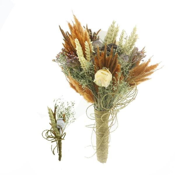 Doğal Kurutulmuş Gerçek Çiçek Gelin El Buketi Ve Yaka Çiçeği Mod.11