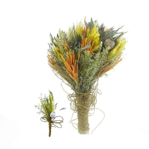 Doğal Kurutulmuş Gerçek Çiçek Gelin El Buketi Ve Yaka Çiçeği Mod.12