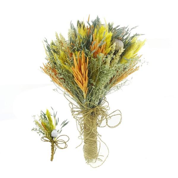 Doğal Kurutulmuş Gerçek Çiçek Gelin El Buketi Ve Yaka Çiçeği Mod.2