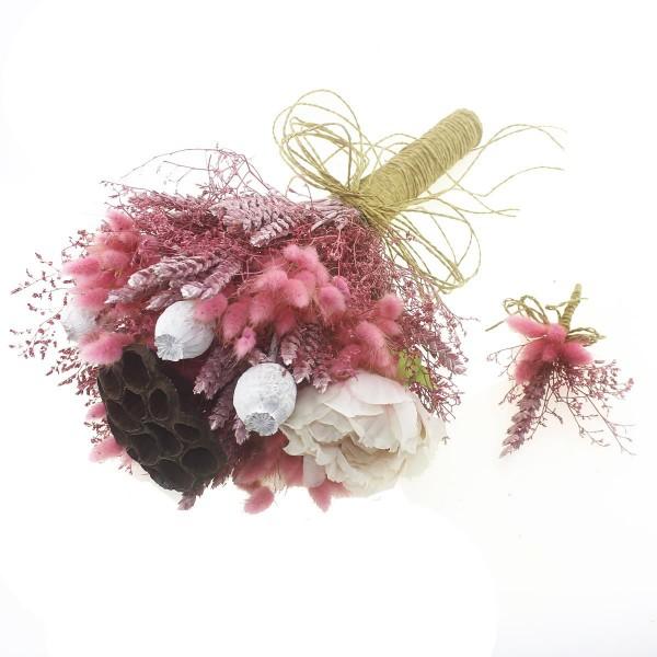 Doğal Kurutulmuş Gerçek Çiçek Gelin El Buketi Ve Yaka Çiçeği Mod.3
