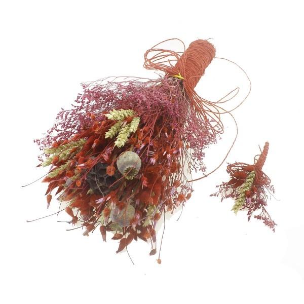 Doğal Kurutulmuş Gerçek Çiçek Gelin El Buketi Ve Yaka Çiçeği Mod.4
