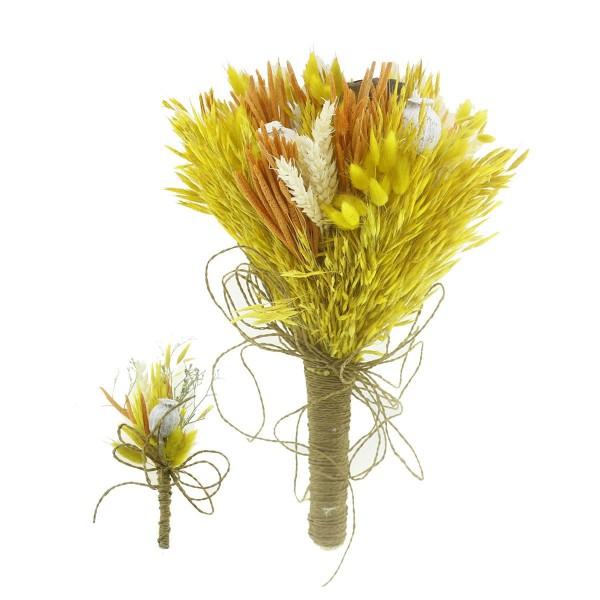 Doğal Kurutulmuş Gerçek Çiçek Gelin El Buketi Ve Yaka Çiçeği Mod.5