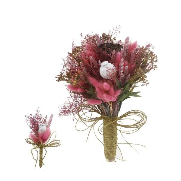 Doğal Kurutulmuş Gerçek Çiçek Gelin El Buketi Ve Yaka Çiçeği Mod.6
