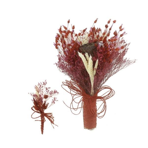 Doğal Kurutulmuş Gerçek Çiçek Gelin El Buketi Ve Yaka Çiçeği Mod.8