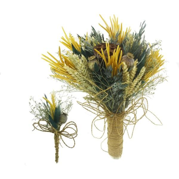 Doğal Kurutulmuş Gerçek Çiçek Gelin El Buketi Ve Yaka Çiçeği Mod.9