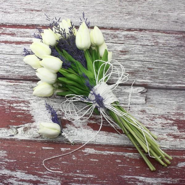 El Buketi Yaka Çiçeği Yapay Lale Ve Mor Kuru Çiçekli
