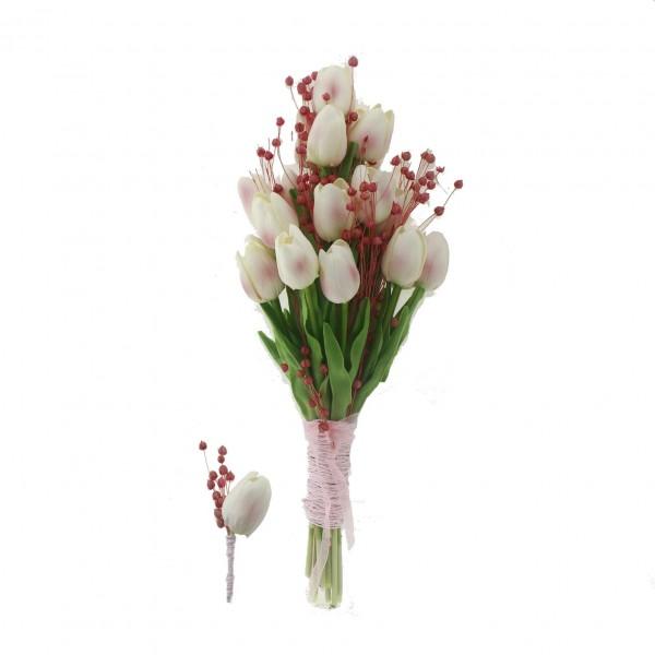 El Buketi Yaka Çiçeği Yapay Lale Ve Pembe Kuru