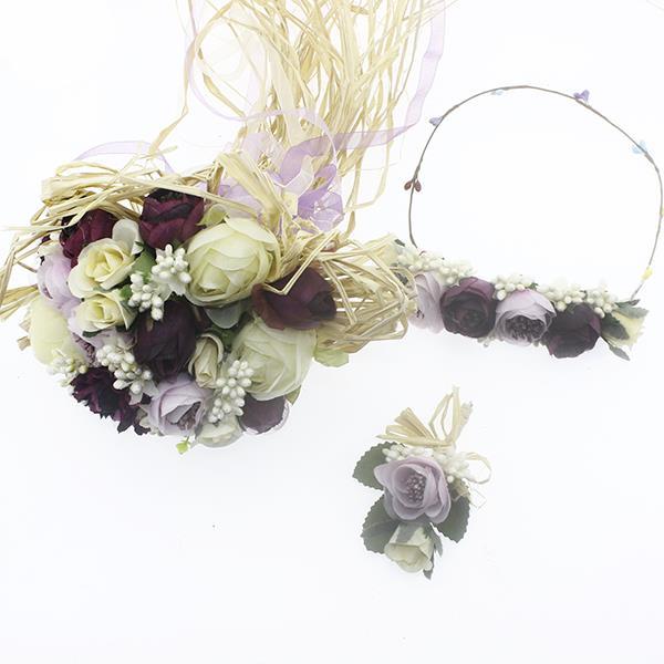 Gelin Buketi Saç Tacı ve Damat Yaka Çiçeği Mod.3