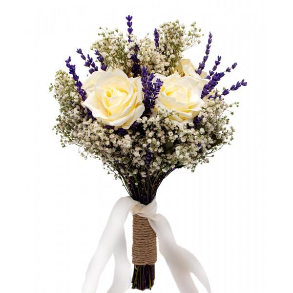 Gelin El Buketi Çiçeği Cipso Lavanta ve Gül