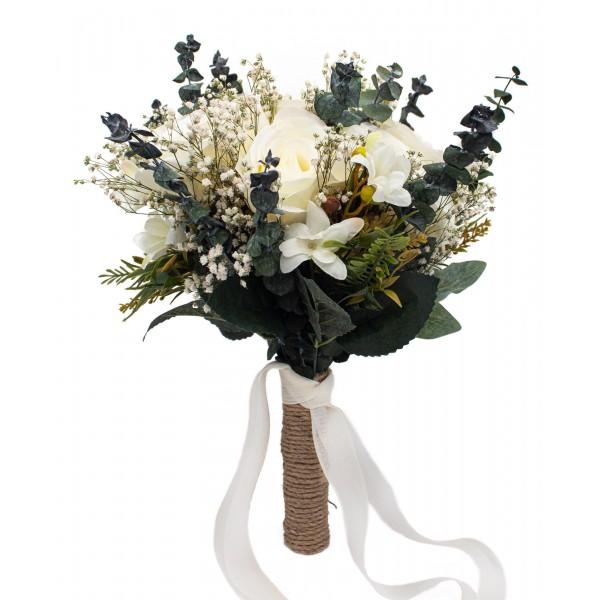 Gelin El Buketi Çiçeği Cipso Okaliptus ve Güllü