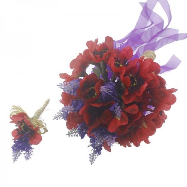 Gelincik-Lavantalı Gelin El Buleti ve Damat Yaka Çiçeği