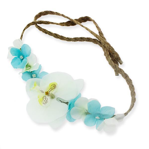 Helen Taç Yapay Orkide Çiçekli Saç Bandı Mavi Beyaz