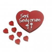 Kalp Kutu içinde 10 Adet Kalp Çikolata Sevgiliye