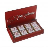 Kırmızı Kutuda İsme Özel 24 Adet Madlen Çikolata Sevgiliye