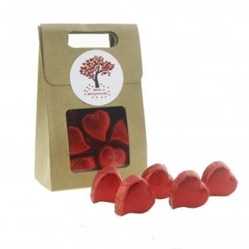 Kraft Karton Çantada 20 Adet Kalp Çikolata Sevgiliye