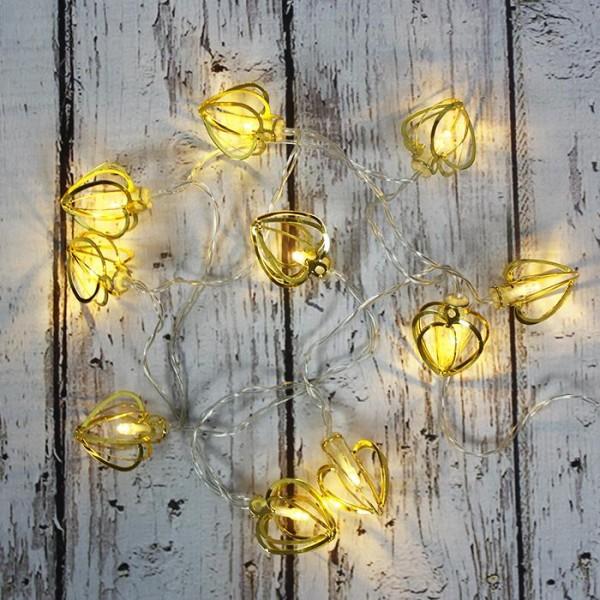LED Işık Metal Kalp  Zinciri Şerit