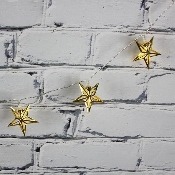 LED Işık Metal Yıldız  Zinciri Şerit