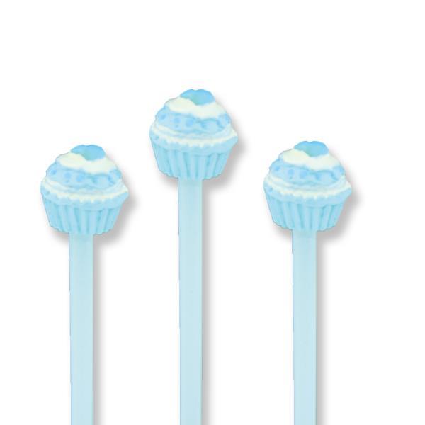 12 Adet Mavi Kalpli Cupcake'li Kurşun Kalem