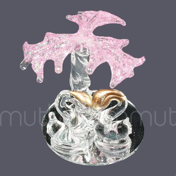 12 Adet Palmiye Altında Kristal Cam Kuğular