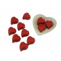 Porselen Kalp Tabak içinde 10 Adet Hediyelik Kalp Çikolata