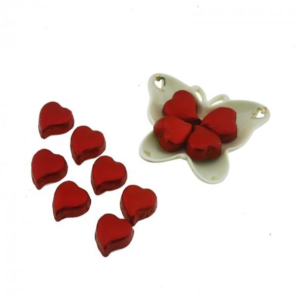 Porselen Kelebek Tabak içinde 10 Adet Hediyelik Kalp Çikolata