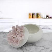 Porselen Şekerlik Pembe Çiçekli 7x9cm