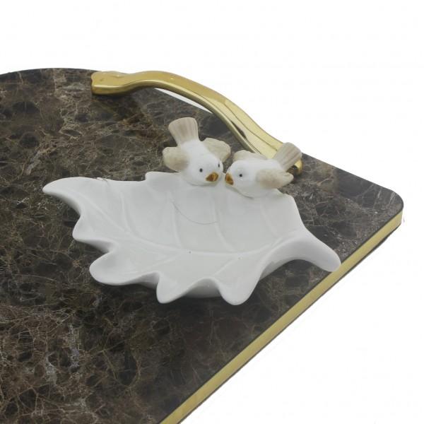 Porselen Yaprak Tabak içinde 15 Adet Hediyelik Çikolata