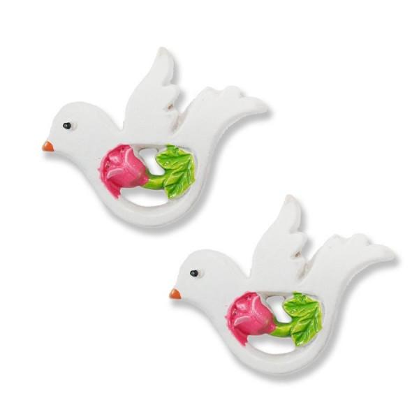Renkli Çiçekli Minik Kuş Biblo 8 Adet