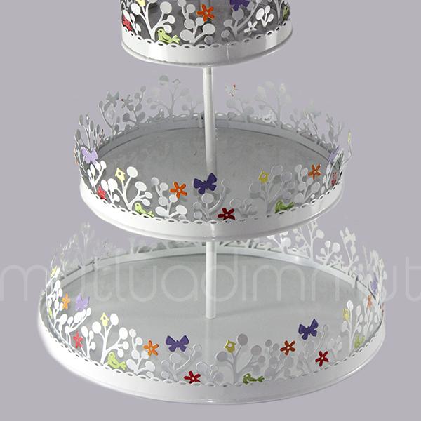 Renkli Metal Cupcake Standı 3 Katlı