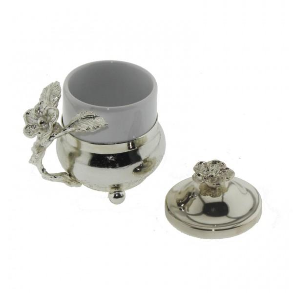 Seramik Kahve Fincanı Metal Kulplu ve Kapaklı 6x8cm