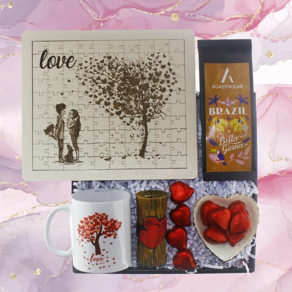 Sevgiliye Hediye Seti Puzzle Yapboz Kahve ve Mum