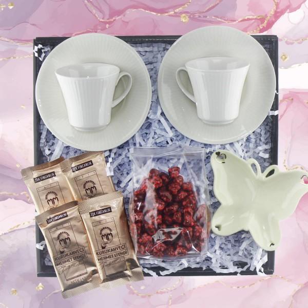 Türk Kahvesi Keyfi Hediye Seti Kutusu Porselen Kelebek Tabaklı