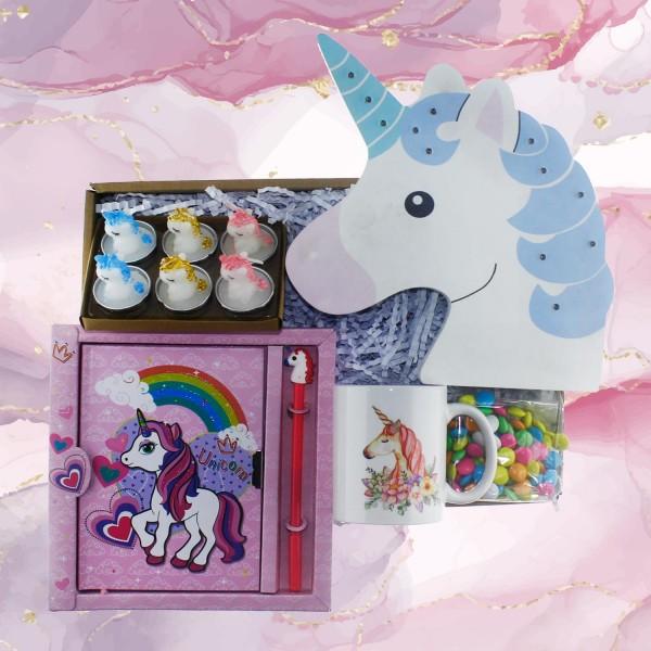 Unicorn Hediye Kutusu Seti Unicorn LED Aydınlatma ve Mum