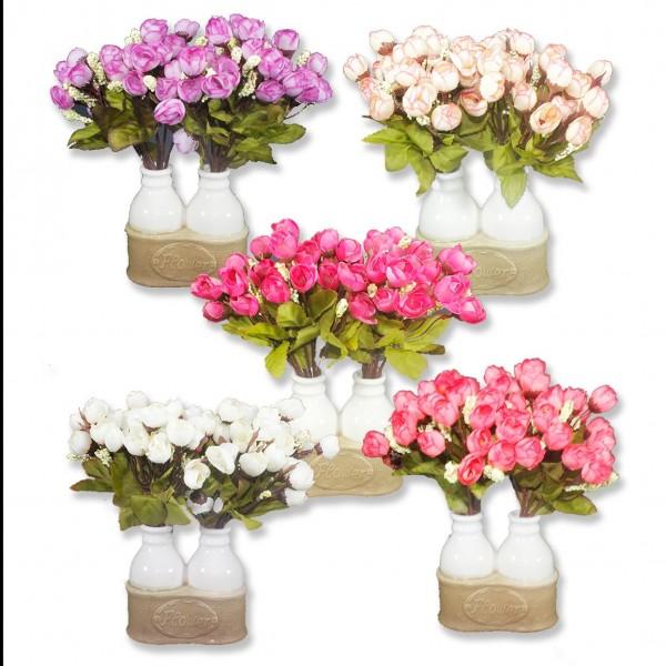 Vazo ve 4 Demet Çiçek Seti